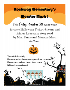 Monster Mash: Wear Halloween t-shirt and Jeans on this day, No Costumes.